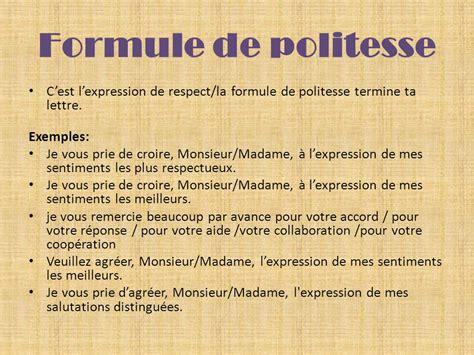 Exemple De Lettre Formule Politesse La Lettre Formelle Le Texte Fonctionnel Ppt T 233 L 233 Charger