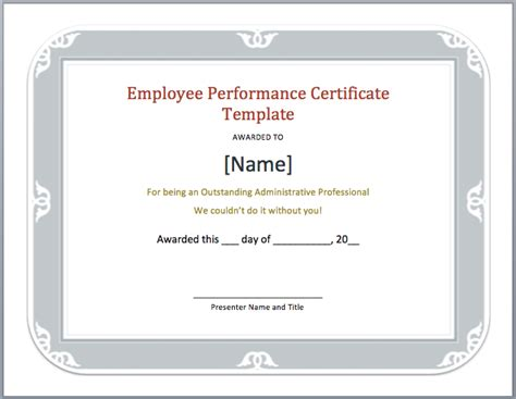certificate of performance template employee performance certificate template microsoft word