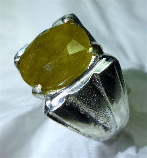 Cincin Yellow Aventurine greenish yellow sapphire kode p52 harga batu permata