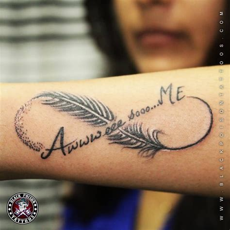 tattoo unendlichkeitszeichen family wonderful feather and infinity symbol tattoo on arm sleeve