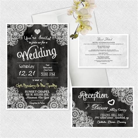Custom Invitations by Chalkboard Wedding Invitations Personalized Chalk Board