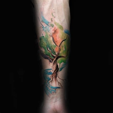 70 Watercolor Tree Tattoo Designs For Men Manly Nature Ideas Prismatic Watercolor Tattoos