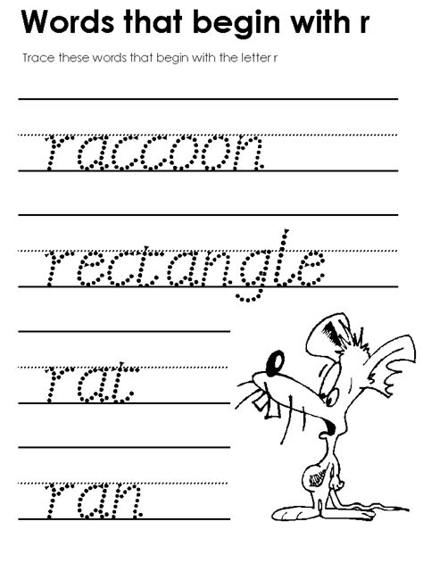 5 Activities To Start by Letter R Worksheet Kindergarten Words Starting With