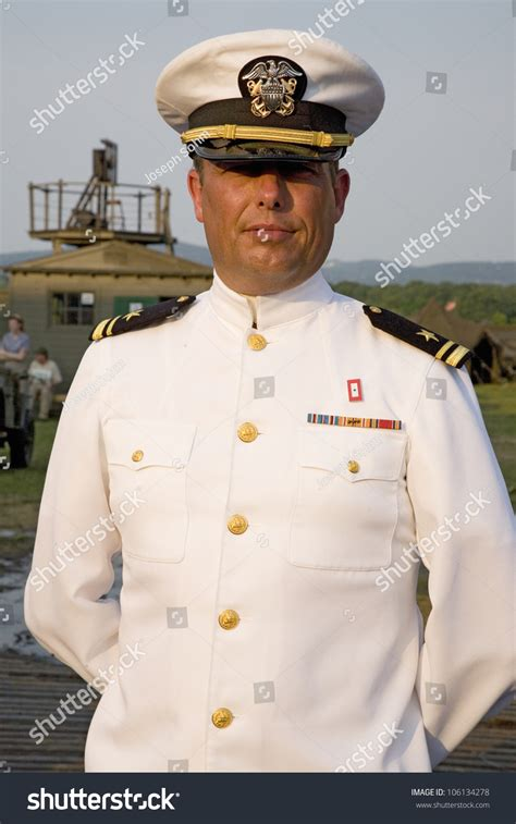 Officer In by Navy Officer Smiling Dress White Stock Photo