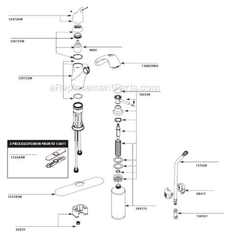 moen kitchen faucets parts diagram moen ca87666w parts list and diagram ereplacementparts