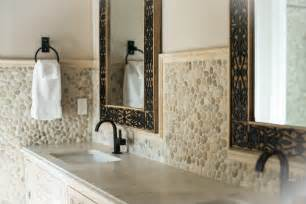 pebble backsplash java pebble tile high end bathroom backsplash and