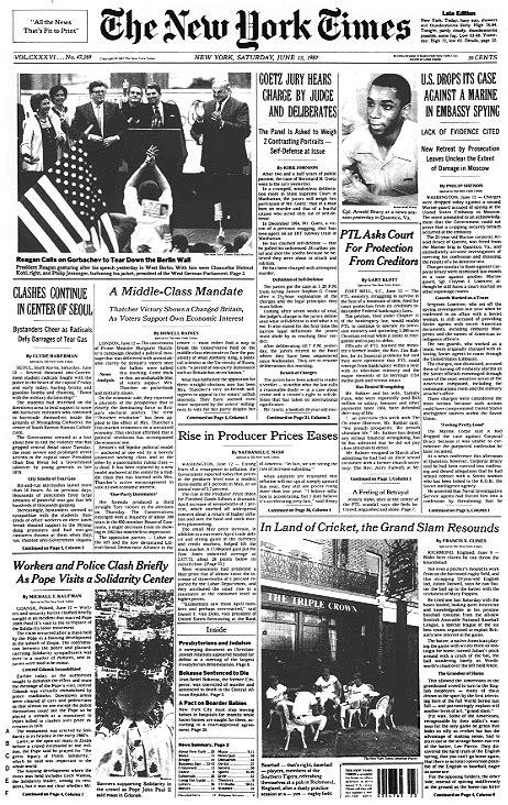 berlin wall newspaper raze berlin wall urges soviet
