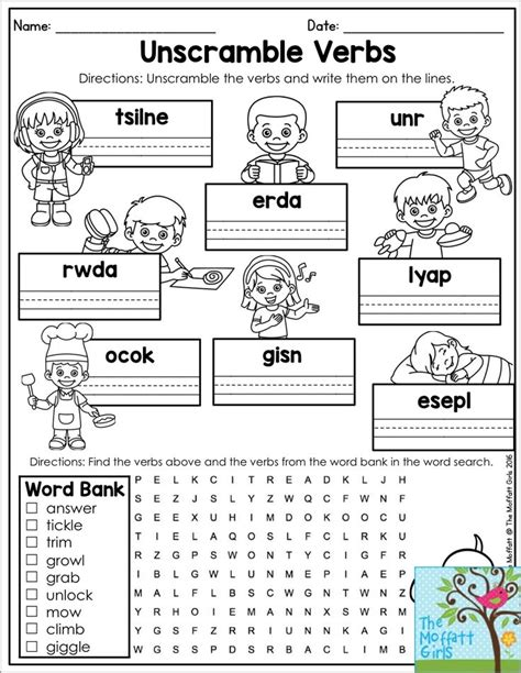verb word search unscramble the verbs and