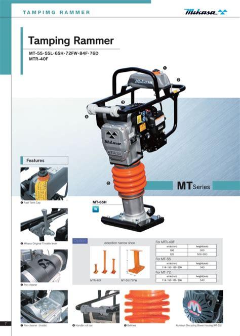 ting rammer mikasa mt f construction equipment mikasa brochure