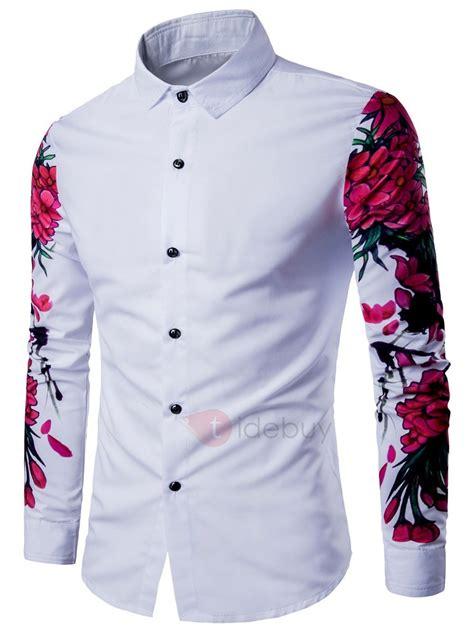 camisas de caballero camisa hombre manga larga floral color blanco tidebuy com