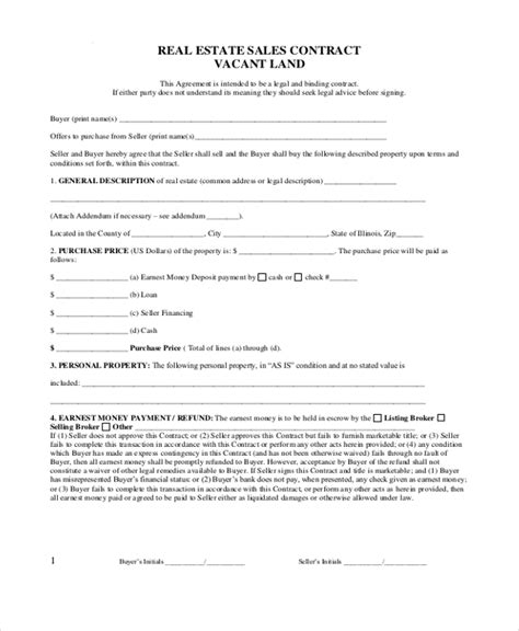 sample real estate sales contract form   documents
