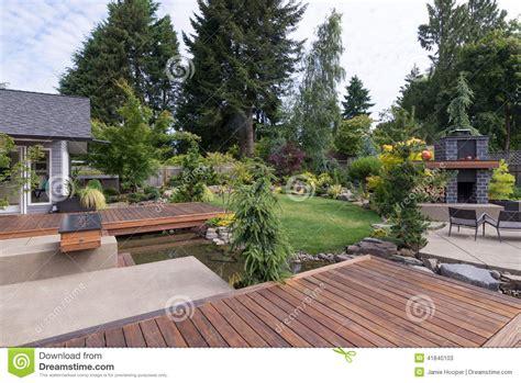 Backyard Ideas Pacific Northwest Backyard Deck And Water Stock Photo Image 41840103