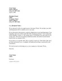 template offer of employment letter offer letter sle template best business template
