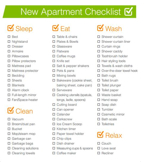 appartment list sle new apartment checklist 7 documents in pdf word
