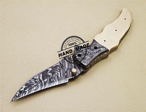 blank blade damascus folding knife custom handmade