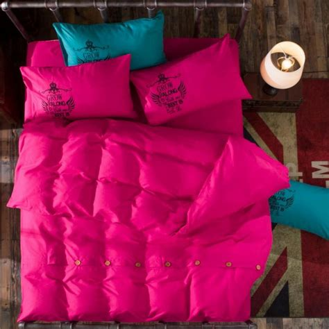 solid color bedding sets with button reactive printing