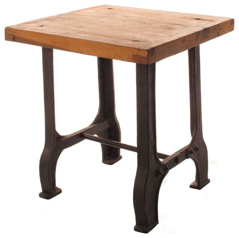 reclaimed wood accent table foundry reclaimed wood cast iron base end table