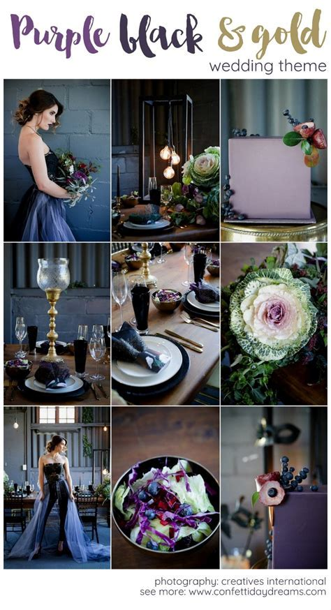 Striking Purple, Black   Gold Wedding Decor Ideas