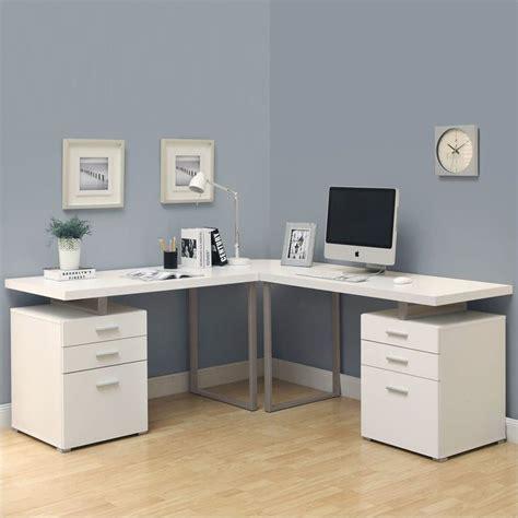 White Desk L Shaped 3 48 Quot L Shaped Desk Set In White I7027 3