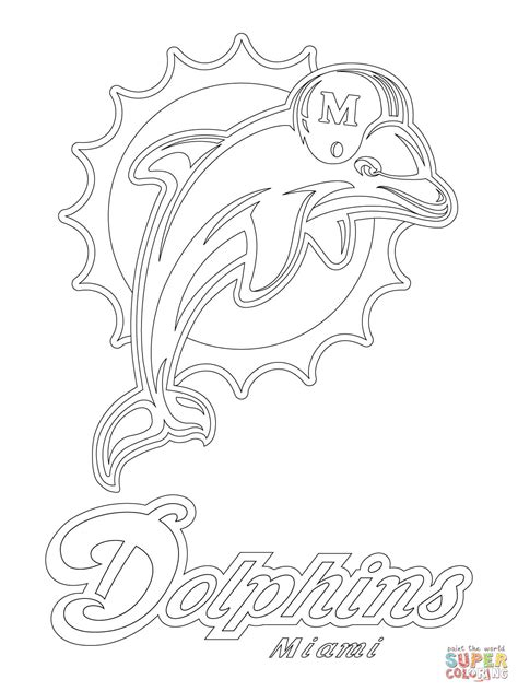 miami dolphins logo coloring page free printable