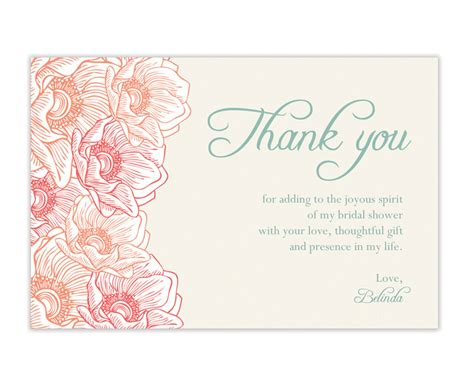 template for thank you card bridal shower bridal shower thank you cards wording 99 wedding ideas