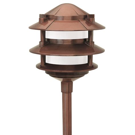 Cast Aluminum Outdoor Lighting Paradise Low Voltage 1 Light 11 Watt Copper Outdoor Landscape Cast Aluminum 3 Tier Path Light