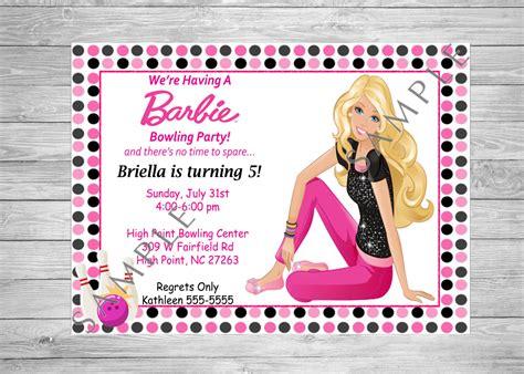 printable birthday invitations barbie barbie birthday invitation bowling birthday party printable