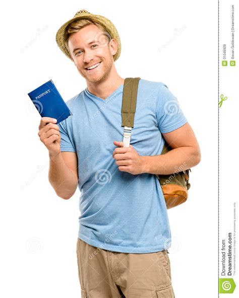 man holding happy young tourist man holding passport white background