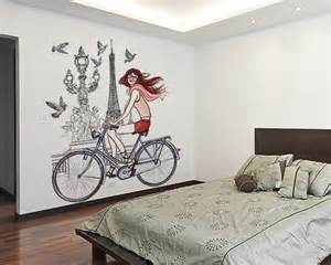 Stickers On Wall For Bedroom paris girl bicycle bedroom wall sticker