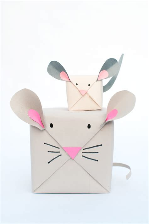 diy holiday mouse gift wrap handmade charlotte