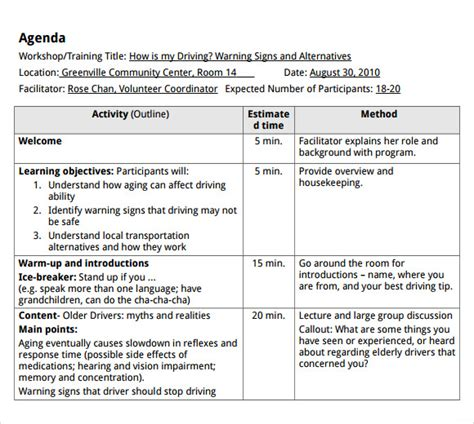 templates for agenda in word 7 training agenda templates free sle exle format