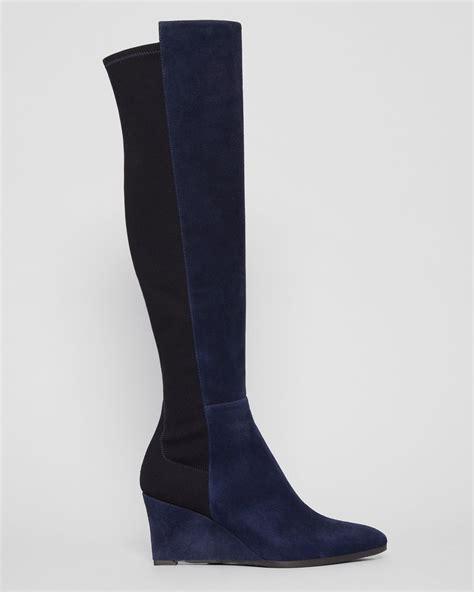 stuart weitzman pointed toe wedge boots demimimi in