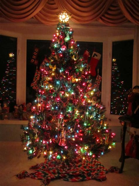 Traditional Tree Decorations by Decoration Ideas Traditional Tree With Colorful Lights And Hanging Decorations Also