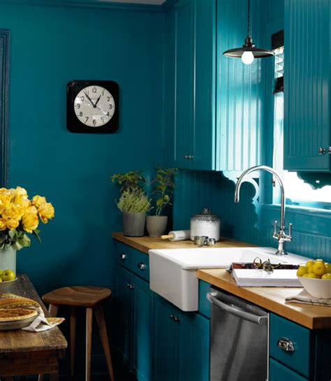 peacock blue wall paint eclectic kitchen benjamin varsity blues country living