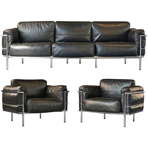 lc3 sofa le corbusier lc3 grand confort living room set sofa and