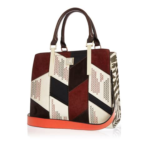 Patchwork Tote - lyst river island patchwork tote handbag in