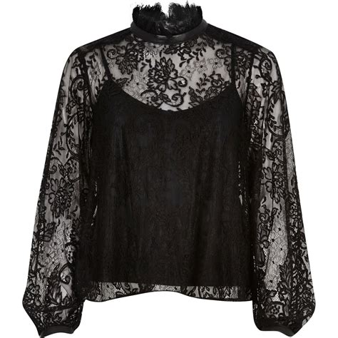 And Black Lace Blouse by River Island Black Lace High Neck Blouse In Black Lyst