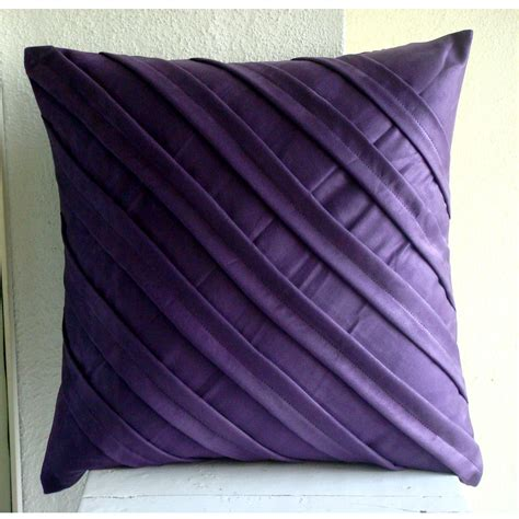 Unique Sofa Pillows Handmade Purple Pillows Cover 16x16 Faux Suede
