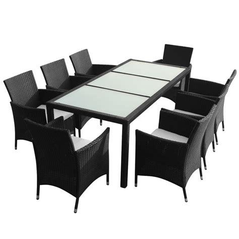 Table 8 Chairs by Vidaxl Co Uk Vidaxl Black Poly Rattan Garden Furniture Set 1 Table 8 Chairs