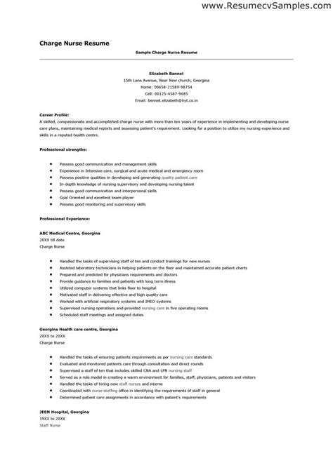 sle of resume for nurses comprehensive resume sle for nurses 100 images