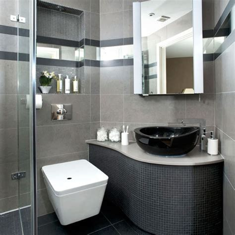 black and gray bathroom ideas see this sleek grey bathroom makeover housetohome co uk