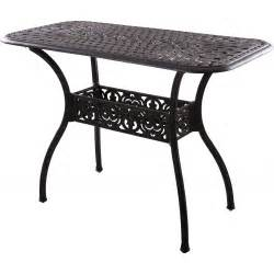 Cast Aluminum Patio Table Darlee Series 60 52 X 26 Inch Cast Aluminum Counter Height Patio Serving Table Antique Bronze