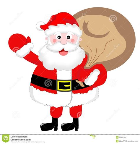 santa claus greeting with sack stock illustration image