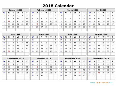 printable calendar 2018 by week calendar with week numbers 2018