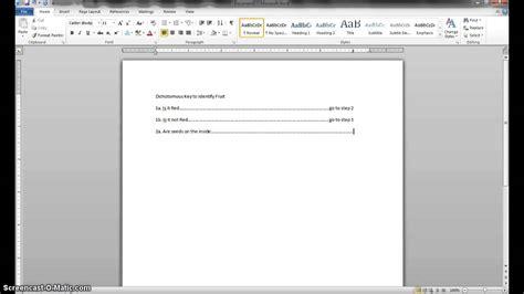 Dichotomous Key Template by A Dichotomous Key In Microsoft Word