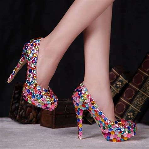multi coloured shoes high heels pink blue multi color sparkly wedding dress