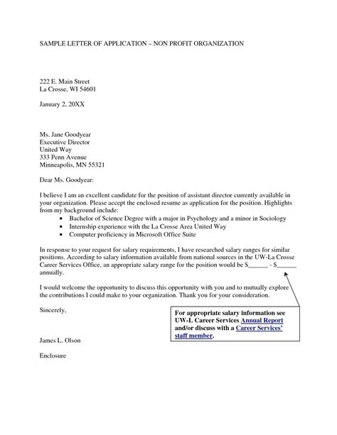profit cover letter sample executive director