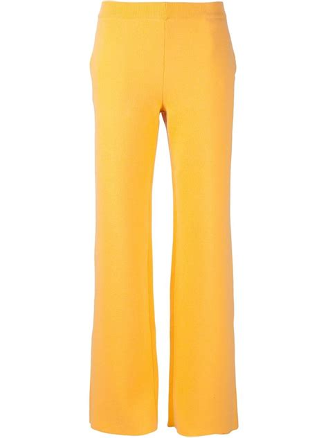 19213 Yellow Wide Leg Trousers lyst cedric charlier wide leg knit trousers in yellow