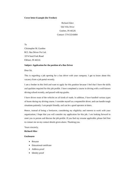 Cover Letter Exles Driver Basic Driver Cover Letter Sles And Templates