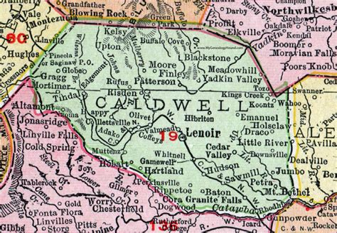 Caldwell County Nc Records Caldwell County Carolina 1911 Map Rand Mcnally Lenoir Whitnel Gamewell